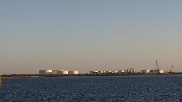 A general view of an oil dock is seen from a ship at the port of Kalantari in the city of Chabahar.(Reuters File Photo)