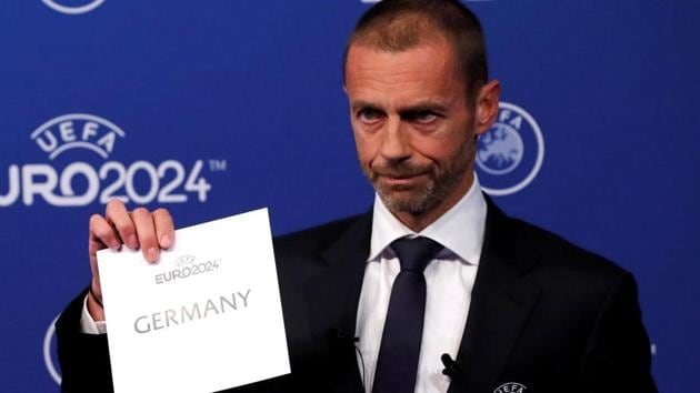 UEFA President Aleksander Ceferin unveils the host nation for Euro 2024 during the announcement .(REUTERS)