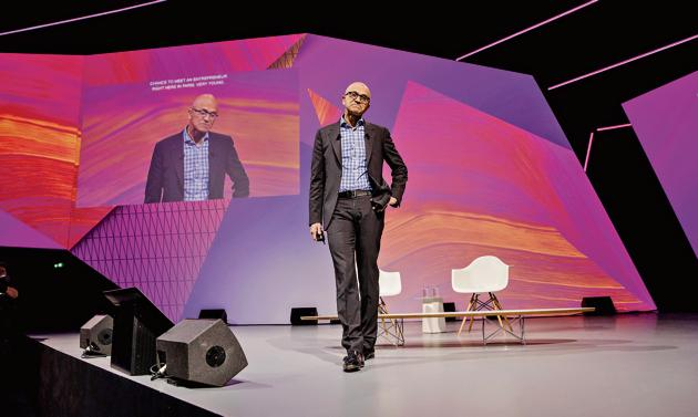 The epitome of the made-in-India manager: Satya Nadella, chief executive officer of Microsoft Corp. at a technology conference in Paris, France, in May 2018.(Bloomberg via Getty Images)