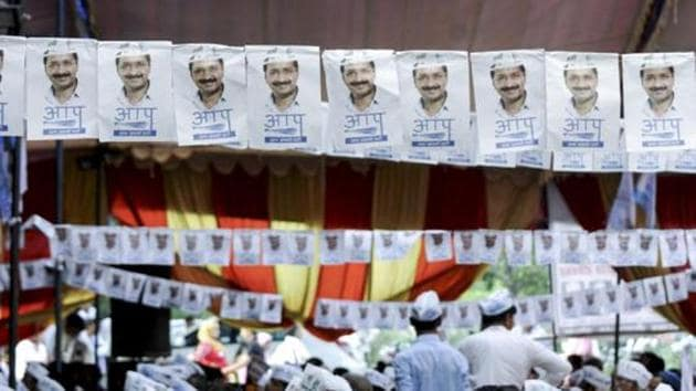 A rally organised by Aam Aadmi Party in Noida.(HT File Photo)