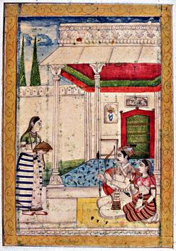 A miniature from the album of Ragamala, circa 1754, shows lovers being served on a terrace. The bow and arrow held by the man are symbols of Kama, the god of love.(Getty Images)