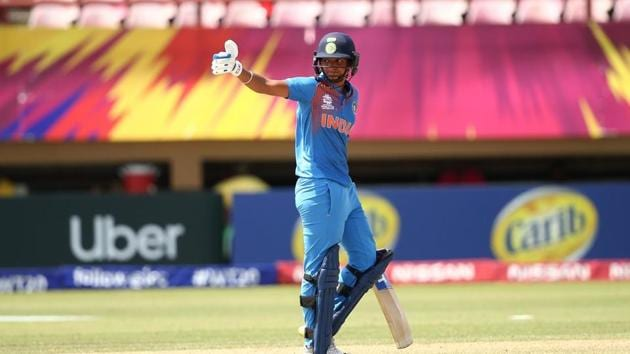 India captain Harmanpreet Kaur slammed her first T20 century for India.(Twitter)