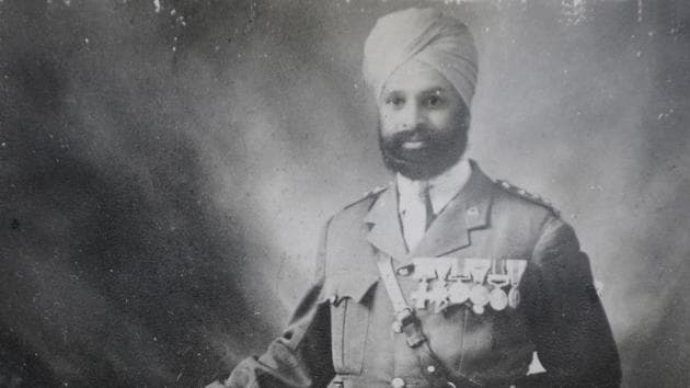 Subedar Major Thakur Singh, who participated in World War-I. Picture clicked from an old photograph at his grandson's residence, in Sector-04 in Panchkula, Haryana.(Photo by Anil Dayal/Hindustan Times)