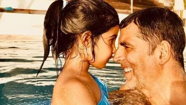 Akshay Kumar with daughter Nitara in a picture from one of their many family holidays.(Instagram)