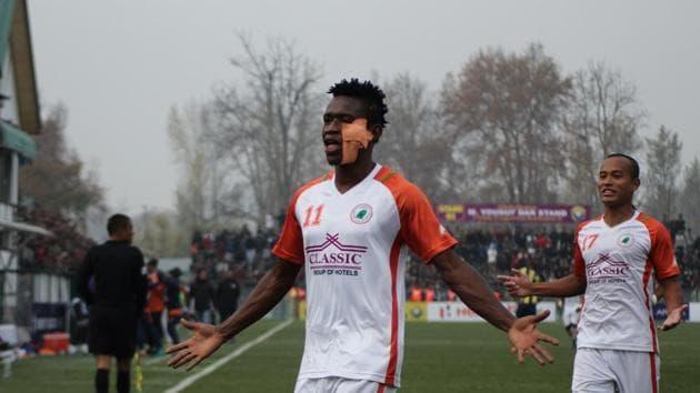 Felix Chidi scored a brace to help Neroca FC beat Real Kashmir.(AIFF)