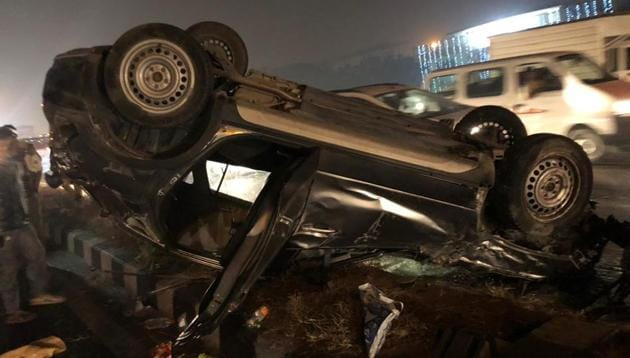 Damaged cares seen after a drunk driving accident took place in west Delhi's Punjabi Bagh Flyover on Friday night.(HT Photo)