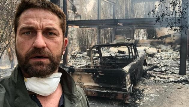 "Gerard Butler shared a picture on Instagram with the captain, ""Returned to my house in Malibu after evacuating.""(Instagram)"