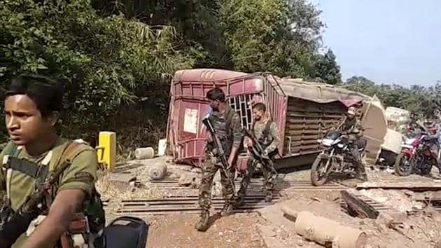 Two Naxals were gunned down Monday evening in an encounter with security forces in Sukma district of Chhattisgarh, police said.(AP)