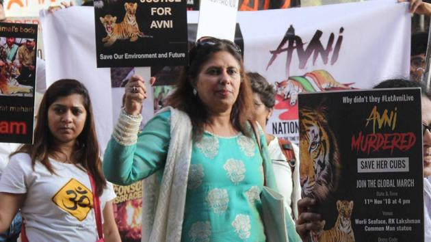 Thousands of people took part in a protest in Mumbai on Sunday, November 11, 2018, against the killing of tigress T-1, also known as Avni.(Bhushan Koyande / HT Photo)