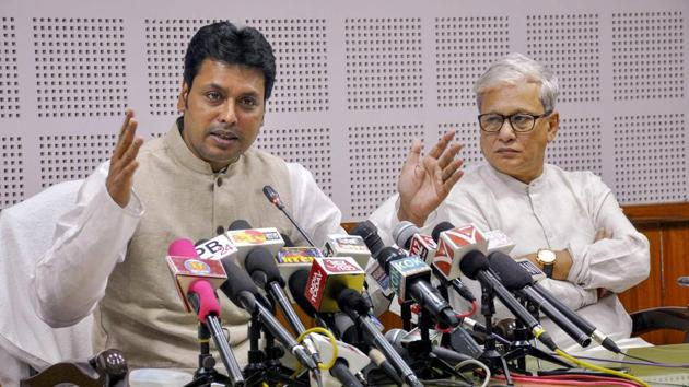 """Tripura chief minister Biplab Deb has told government employees that they do not need a holiday on the day as they are not """"labourers or workers"""".(PTI)"""