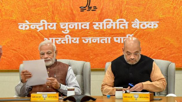 Prime Minister Narendra Modi and BJP President Amit Shah during a meeting for the forthcoming Assembly polls in Rajasthan, at party headquarters in New Delhi, Sunday, Nov 11, 2018.(PTI)