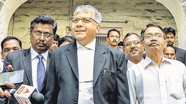 Advocate Prakash Ambedkar comes out of Bhima Koregaon judicial commission on Tuesday(Sanket Wankhade/HT PHOTO)