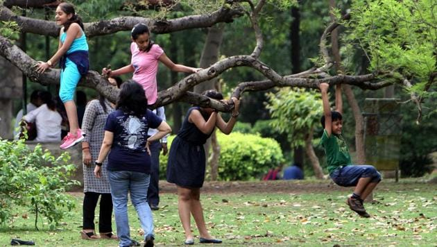 Children enjoying at Lodhi Garden in New Delhi. It is the perfect spot for a family picnic. (HT File Photo/ Arun Sharma)