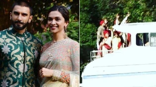 Deepika Padukone and Ranveer Singh's baraati arrived dancing on a boat.