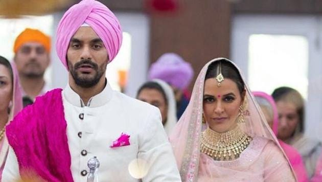 Angad Bedi and Neha Dhupia tied the knot in May 2018 and are expecting their first child soon.(Instagram)