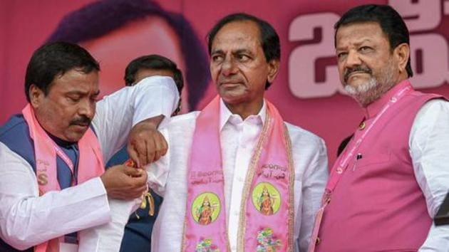 Telangana Rashtra Samithi president and chief minister K Chandrasekhar Rao has assets worth Rs 22.60 crore and an annual income of Rs 2.07 crore but does not own any cars.(PTI)
