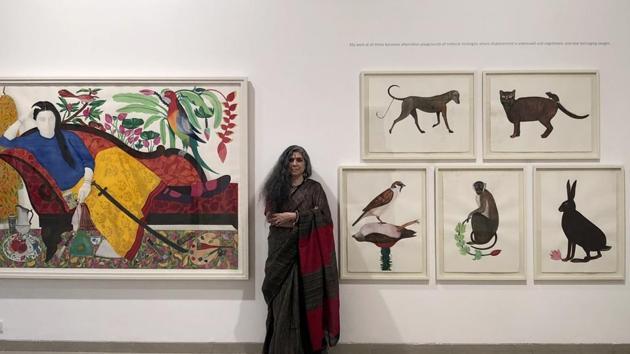 Rekha@Sixty: Transient Worlds of Belonging showcases mixed media works that Baroda-based artist Rekha Rodwittiya created over the past year.(Courtesy: Sakshi Gallery)
