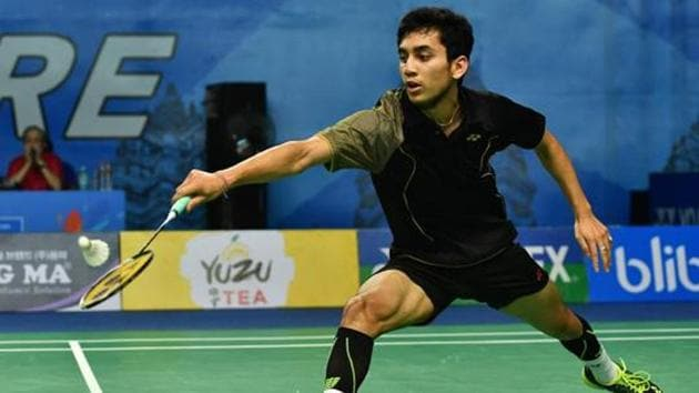 File image of India shuttler Lakshya Sen in action during a match.(Getty Images)