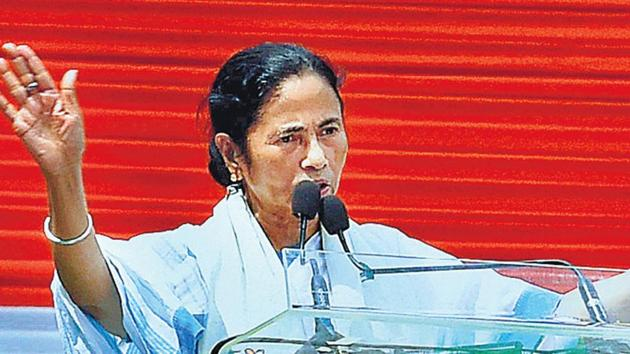 West Bengal chief minister Mamata Banerjee addresses Martyr's Day rally in Kolkata on Tuesday. (PTI photo)