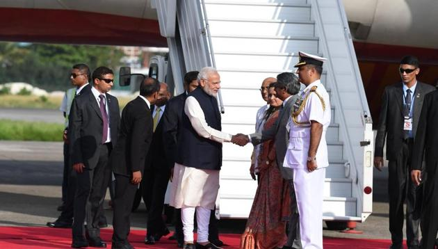 Prime Minister Narendra Modi arrived in Maldives on Saturday to attend the swearing-in ceremony of president-elect Ibrahim Mohamed Solih.(PMO/Twitter Photo)
