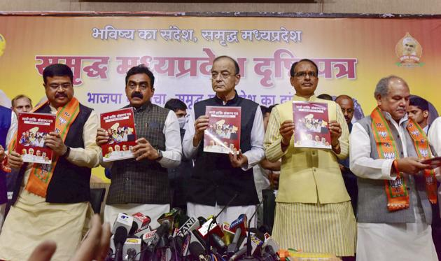 The BJP released its manifesto for the Madhya Pradesh polls, including a separate document for women on Saturday.(PTI)