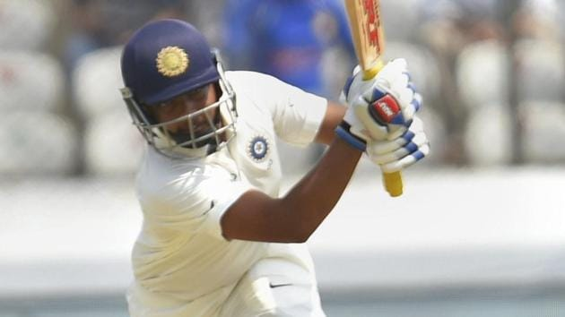 Prithvi Shaw was unbeaten on 33 at the end of the day.(AP)