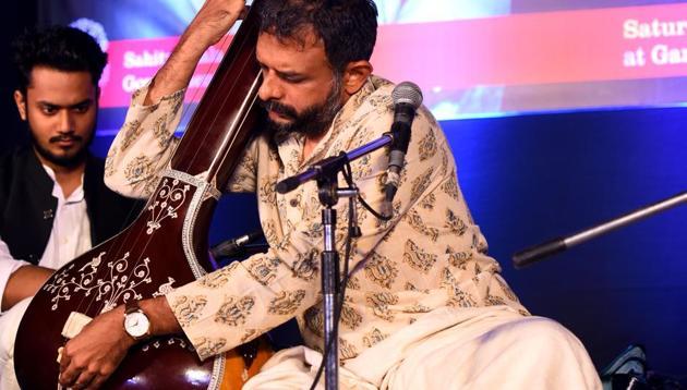 """Carnatic music vocalist TM Krishna during the concert,"""" Awam ki Awaz"""" at the Garden of Five Senses, Saket in New Delhi.(Amal KS/HT Photo)"""