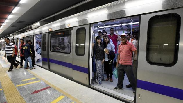 With the opening of the Escorts Mujesar-Ballabhgarh extension of Delhi Metro's Violet Line, Ballabhgarh will become the fourth city in Haryana to get Metro connectivity after Gurugram, Faridabad and Bahadurgarh.(Sonu Mehta/HT File)