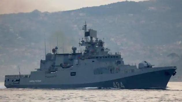 The Russian Navy's frigate Admiral Grigorovich sails in the Bosphorus on its way to the Mediterranean Sea, in Istanbul, Turkey on April 7.(Reuters file)