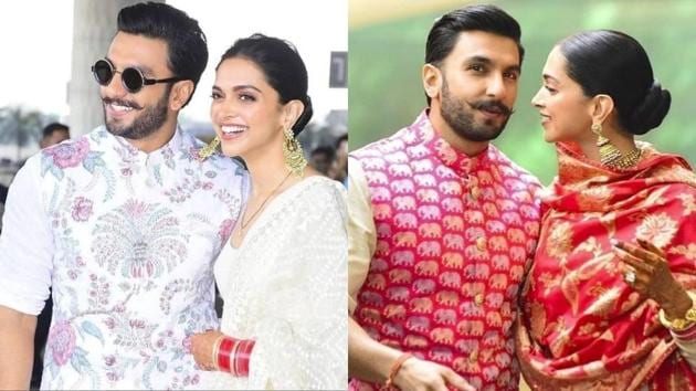 Deepika Padukone, Ranveer Singh give us another chance to swoon over their matching Sabyasachi looks at Mumbai airport. We can't wait to see if Ranveer will match his wife's outfits at the Bengaluru reception, as well. (Instagram)