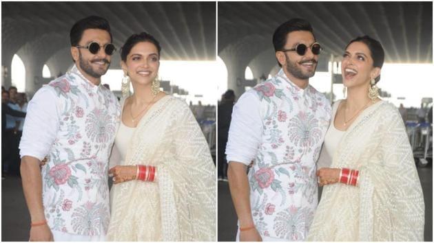 Deepika Padukone and Ranveer Singh spotted at the Mumbai airport.(Viral Bhayani)