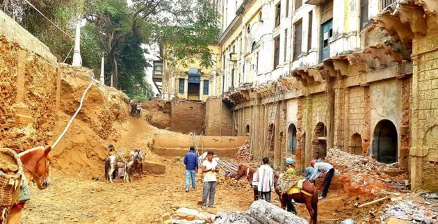 The 'cylindrical structure'(centre) had been lying buried for years, said officials.(Sourced)