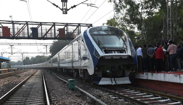 A view of the first Made-in-India engine-less train - named Train 18 at Safdarjung station, during its trial run in New Delhi, India, on November 14, 2018. (Photo by Mohd Zakir/ Hindustan Times file photo)