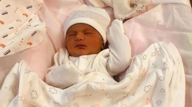 Bishan Singh Bedi shared this picture of Angad Bedi and Neha Dhupia's newborn, Mehr.(Twitter)