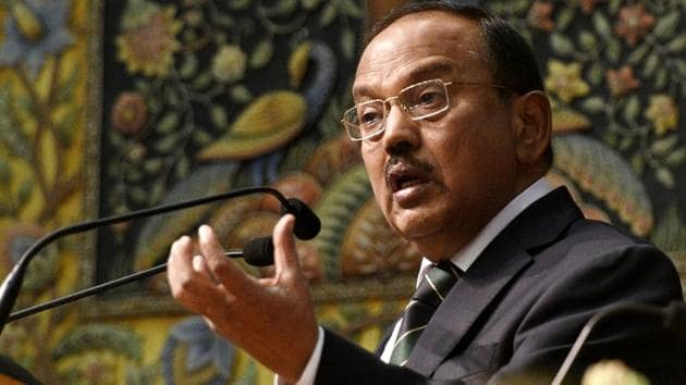 National security advisor Ajit Doval leaves for the city of Chengdu in South-west China on Thursday for the 21st round of Special Representative Dialogues between India and China on boundary resolution.(Mohd Zakir/HT File Photo)