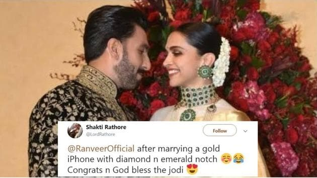 Deepika Padukone and Ranveer Singh had a blast while posing for the media at their Bengaluru reception.(Instagram)