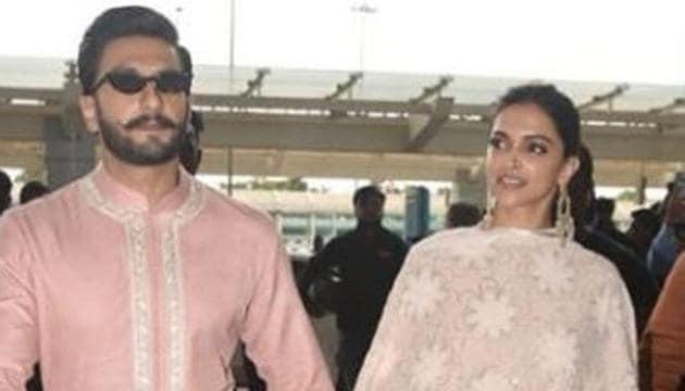 Deepika Padukone and Ranveer Singh were seen at Bengaluru airport hand in hand.