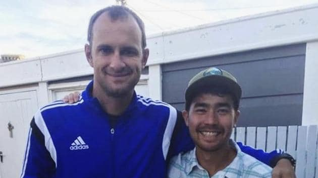 American adventurer John Allen Chau, right, stands for a photograph with Founder of Ubuntu Football Academy Casey Prince, 39, in Cape Town, South Africa. Officials said they were working with anthropologists to recover the body.(AP)