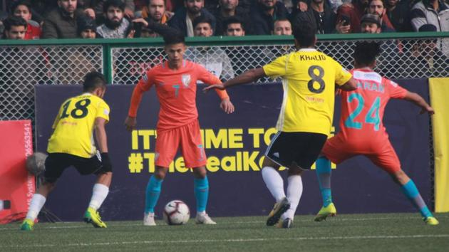 Real Kashmir beat Indian Arrows in the I-League.(AIFF)