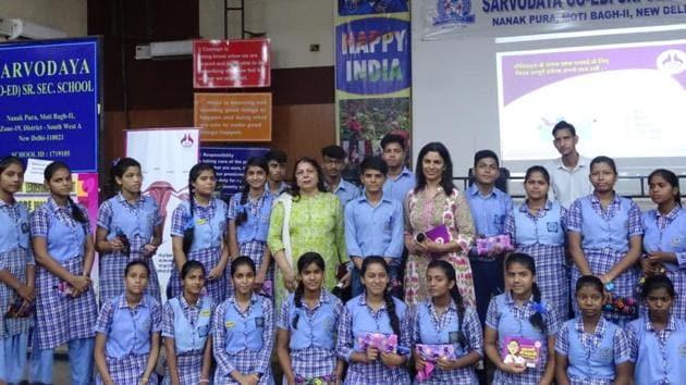 "Students during a workshop on ""menstrual awareness and hygiene"" in Sarvodaya co-ed Senior Secondary School in Nanak Puri.(NGO Sacchi Sahel)"