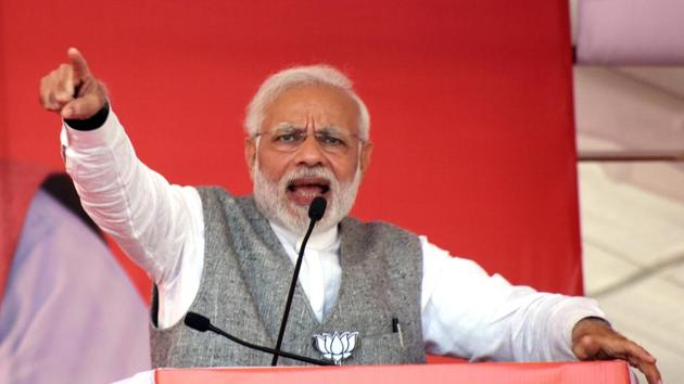 Prime Minister Narendra Modi said Congress was dragging the judiciary into politics.(PTI)