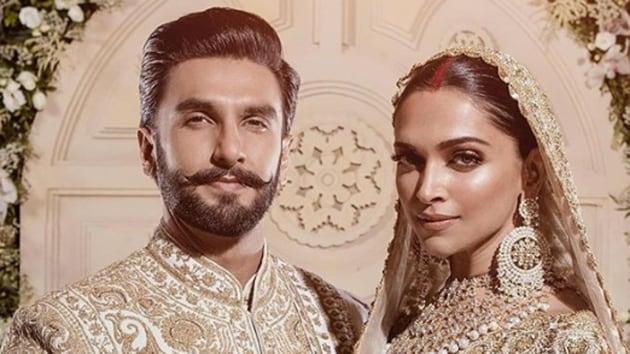 Actors Deepika Padukone and Ranveer Singh at their wedding reception in Mumbai.
