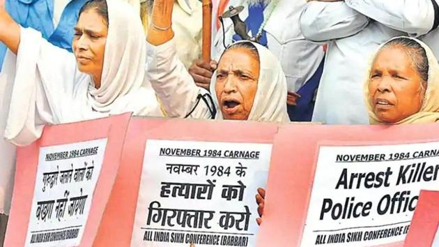 File photo of a protest on the anniversary of 1984 anti-Sikh riots, in New Delhi.(HT Photo)