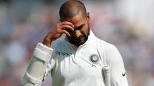 File image India's Shikhar Dhawan looking dejected after being dismissed during a Test match.(REUTERS)