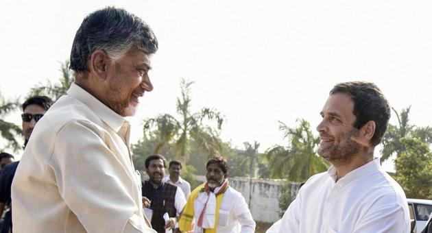 Khammam: Congress President Rahul Gandhi being greeted by Andhra Pradesh Chief Minister Chandrababu Naidu during an election campaign for Telangana Assembly elections, in Khammam, Telalngana, Wednesday, Nov 28, 2018. (PTI Photo) (PTI11_28_2018_000158B)(PTI)