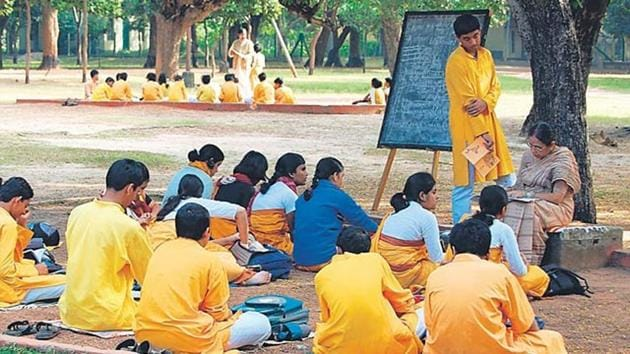 The Visva Bharati University has asked all the departments not to hold any programme which could be against the ethics of the institution set up by Rabindranath Tagore.(HT File Photo)