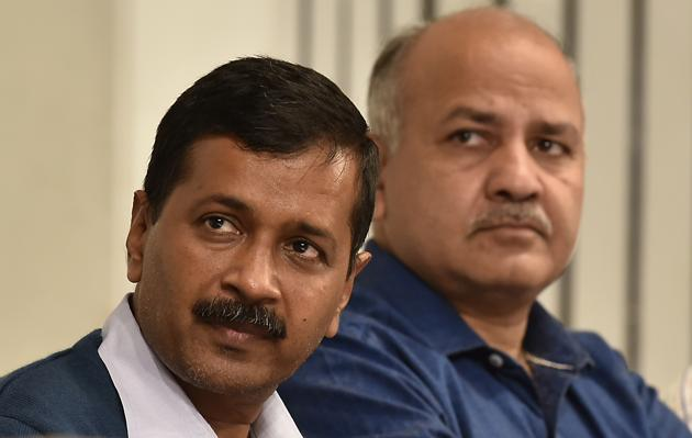 Delhi Chief Minister Arvind Kejriwal with Manish Sisodia, Delhi Deputy Chief Minister.(Raj K Raj/HT FILE PHOTO)