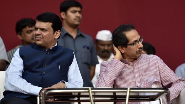 File photo of Maharashtra CM Devendra Fadnavis and Shiv Sena chief Uddhav Thackeray. Ties between the two parties have been strained and the Sena has been critical of the BJP's policies and central leadership.lm(HT File)