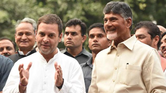 """In the inteview with Andhra Pradesh CM Chandrababu Naidu said """"attitude-wise, I found Rahul good, while Modi is arrogant. In terms of administration, Modi has disappointed the people. """"(Sonu Mehta/HT PHOTO)"""