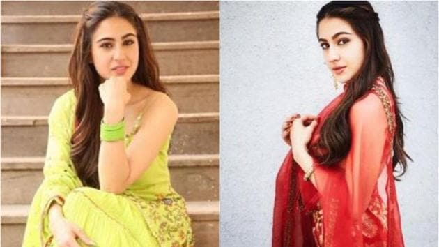 Sara Ali Khan sports vibrant colours in sharara fashion, that's making a comeback in Bollywood and the fashion industry(@tanghavri / Instagram)